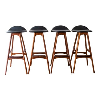 Vintage Mid Century Teak and Rosewood Erik Buch Bar Stools- Set of 4 For Sale