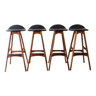 Vintage Mid Century Teak and Rosewood Erik Buch Bar Stools- Set of 4 For Sale