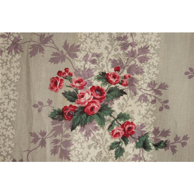 19th Century French Fabric Floral 1860 Purple And Pink Rose Design For Sale - Image 5 of 11