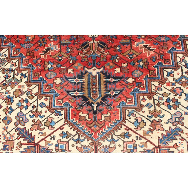 Textile 1930s Semi Antique Heriz Rug - 9′3″ × 12′5″ For Sale - Image 7 of 12
