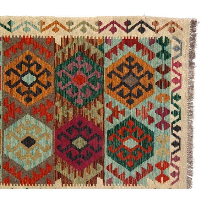 Afghan Afghan Kilim Handspun Wool Rug - 3′3″ × 5′ For Sale - Image 3 of 4