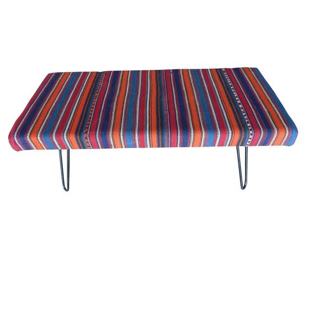 Kilim Bench With Hairpin Legs, Vintage Kilim Rug Ottoman, Kilim Upholstered Bench With Turkish Kilim Rug For Sale - Image 4 of 10