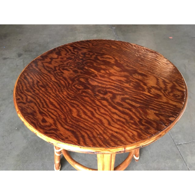 """""""Double Circle"""" Restored Rattan Side Table With Mahogany Top For Sale - Image 4 of 5"""