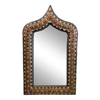 Moroccan Arched Metal Inlay and Resin Mirror For Sale