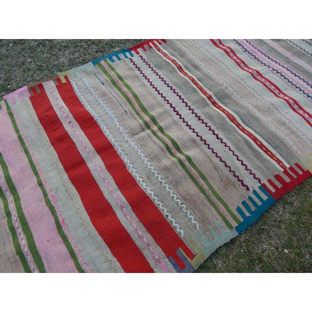 Textile Vintage Wide and Long Turkish Kilim Rug 3'11'' X 8'3'' For Sale - Image 7 of 13