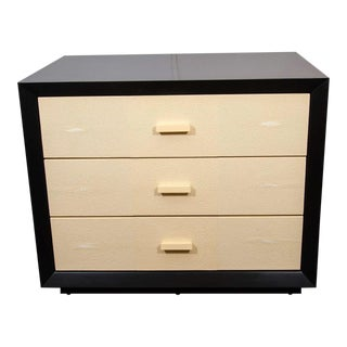 Pair of Custom Black Lacquer with Shagreen Dressers For Sale