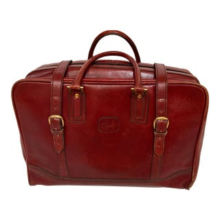 """Vintage 1970s Leather """"La Bagagerie Paris"""" Burgundy Bordeaux Luggage For Sale"""