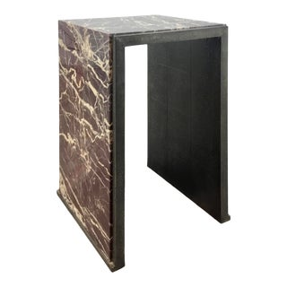Global Views Modern Burgundy Marble Waterfall Side Table For Sale