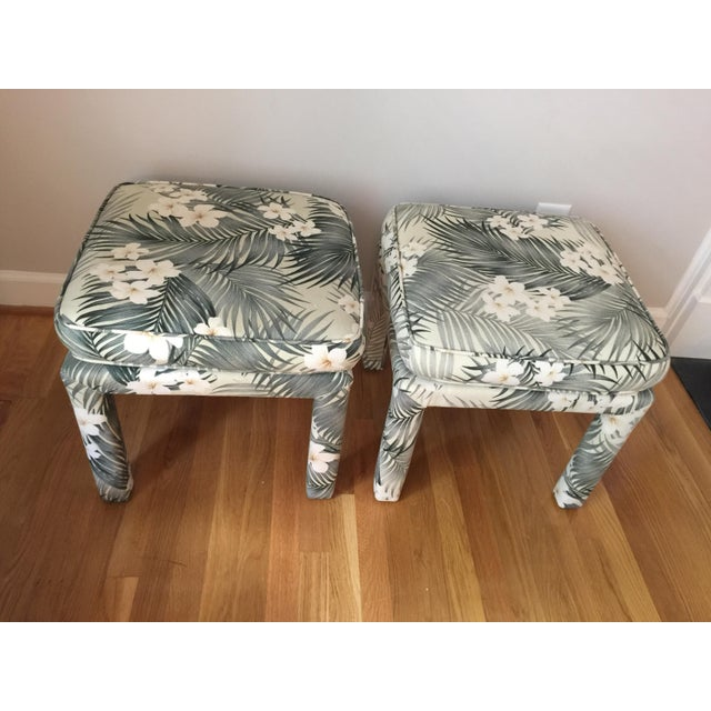 Mid 20th Century Parsons Stools With Palm Leaf Fabric - A Pair For Sale - Image 5 of 11