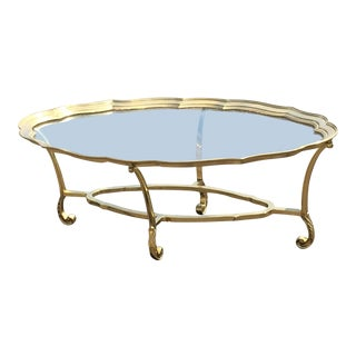 1980s Hollywood Regency Labarge Brass Scalloped Edge Coffee Table For Sale