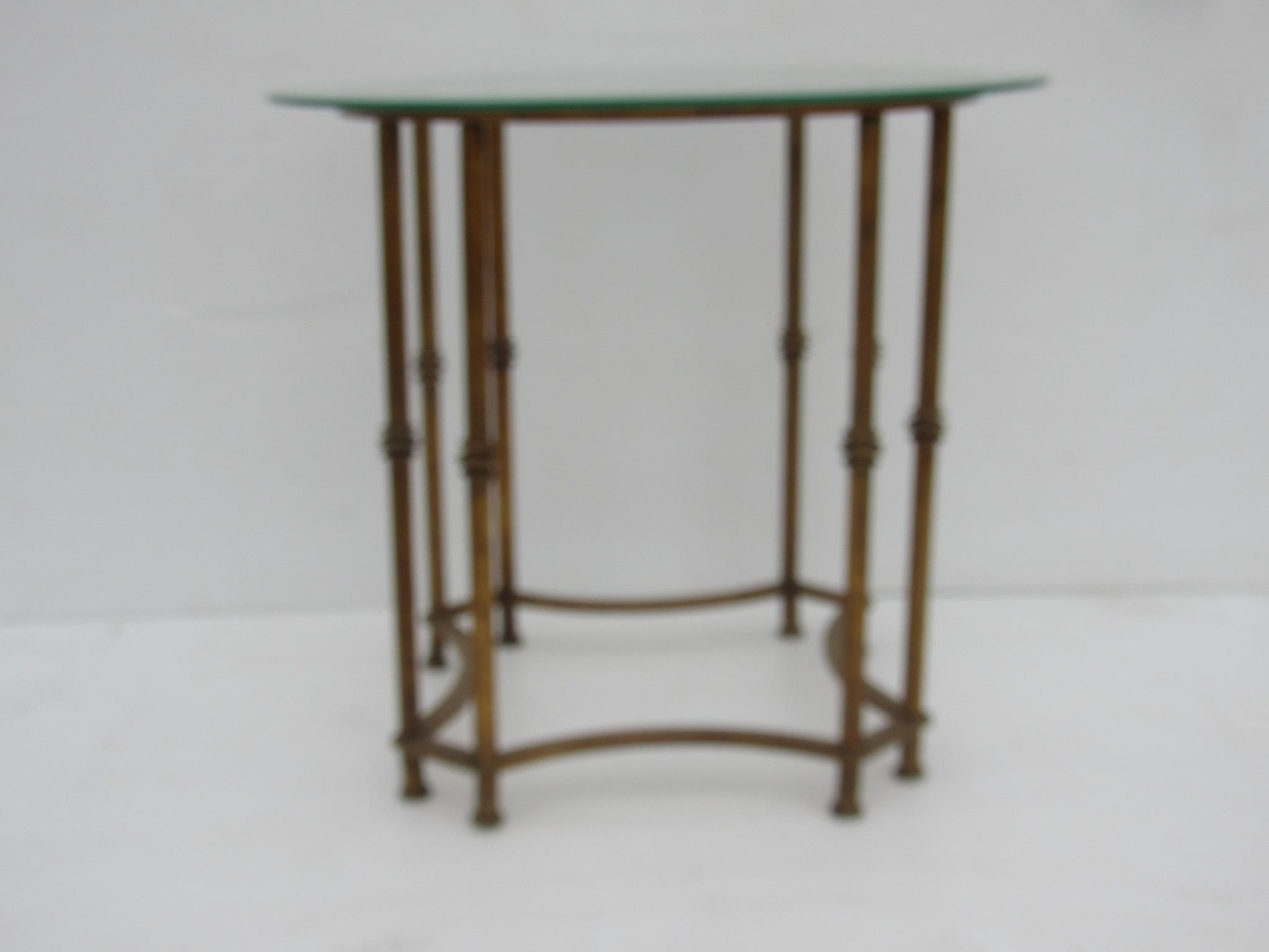 Asian Vintage Chinoiserie Gold Metal Faux Bamboo Side Table For Sale    Image 3 Of 5