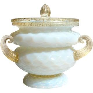 Italian Murano Opal Gold Flecks Art Glass Quilted Flower Vase Incense Jar For Sale