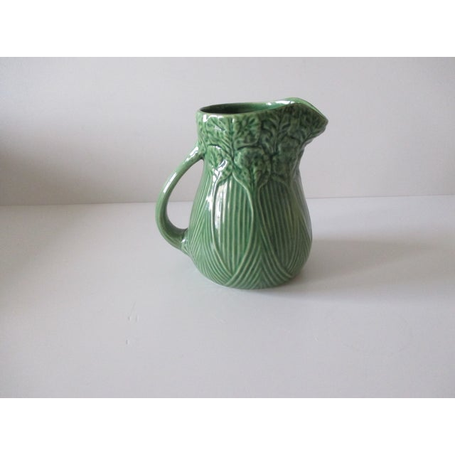 """lVintage Celery Green Pitcher Handcrafted in Portugal Stamped Size: 7 x 5""""D x 7"""