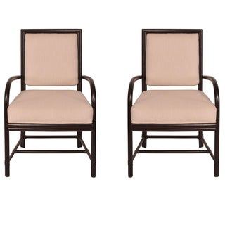 McGuire Rattan Arm Chairs - A Pair For Sale