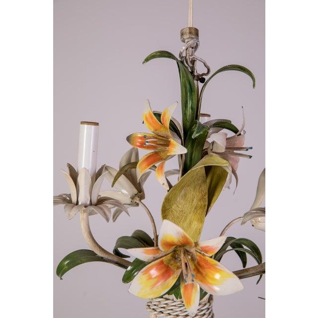 Madcap Cottage Tole Lily 3-Light Chandelier For Sale - Image 10 of 12