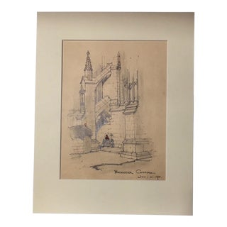 1920s Vintage Walter E. Church Winchester Cathedral English Landscape Pencil Drawing For Sale