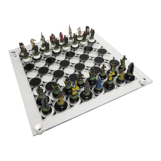 Chess Set With Painted Lead Medieval Figures on Lucite Board For Sale