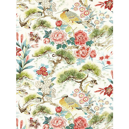 Based on an archival English textile painting, this lovely chinoiserie print of flowers, branching pine trees and exotic...