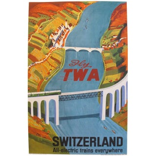 Original Vintage Swiss Twa Travel Poster, Baumberger For Sale