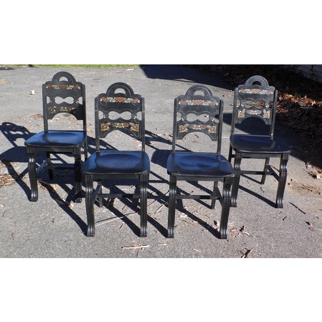 Art Deco Vintage Set of 4 Art Deco Black Painted Amish Folk Art Style Dining Chairs For Sale - Image 3 of 12