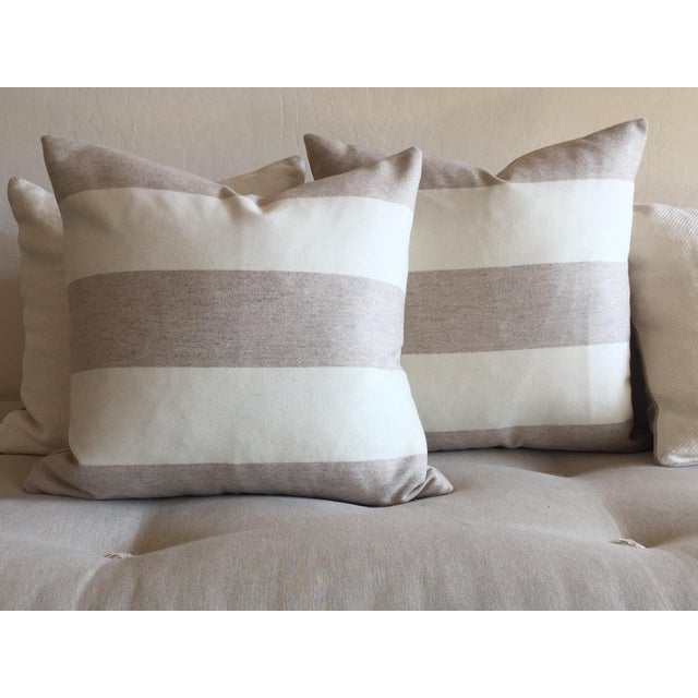 Contemporary FirmaMenta Italian Eco-Friendly White and Cream Stripes Wool Pillow For Sale - Image 3 of 4