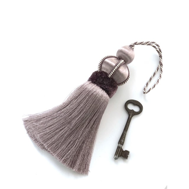 Lavender Key Tassel With Cut Velvet Ruche For Sale - Image 4 of 9