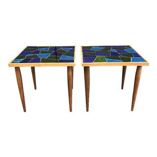 1950s Mid-Century Modern Jon Matin Mosaic Tables - a Pair For Sale