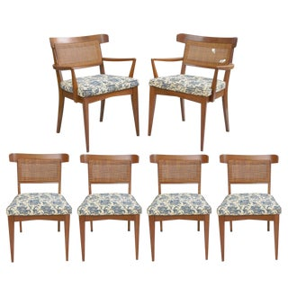 Mid-Century Walnut Curved Cane Back Dining Chairs by Modern Manor Inc - Set of 6 For Sale
