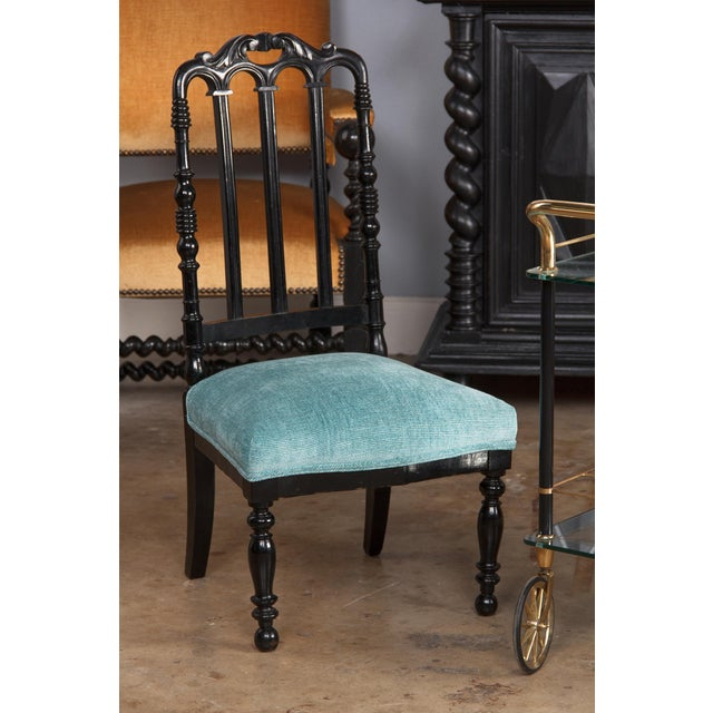 "Napoleon III Ebonized ""Chauffeuses"" Low Chairs - A Pair For Sale - Image 12 of 13"