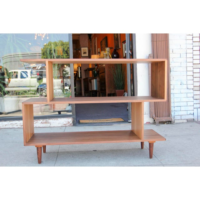 Mid-Century Modern Brown Walnut Deep Zig-Zag Bookcase For Sale - Image 11 of 11