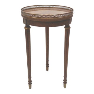 Petite Neo-Classical Inlaid Wood Accent Table