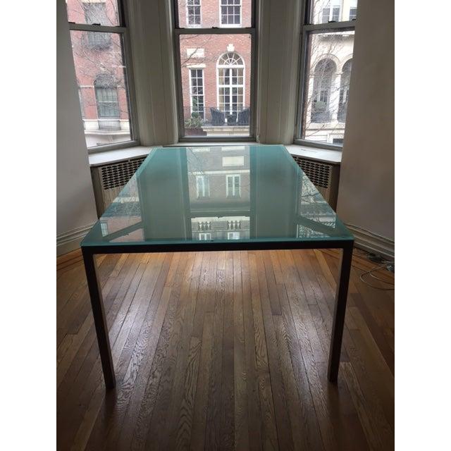 Conrad Glass Dinning Room Table on Steel Base - Image 2 of 4