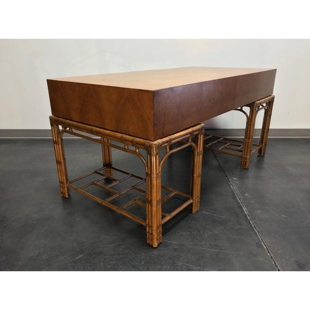 Henredon Vintage Refurbished Henredon Bamboo Rattan Double Pedestal Desk For Sale - Image 4 of 13