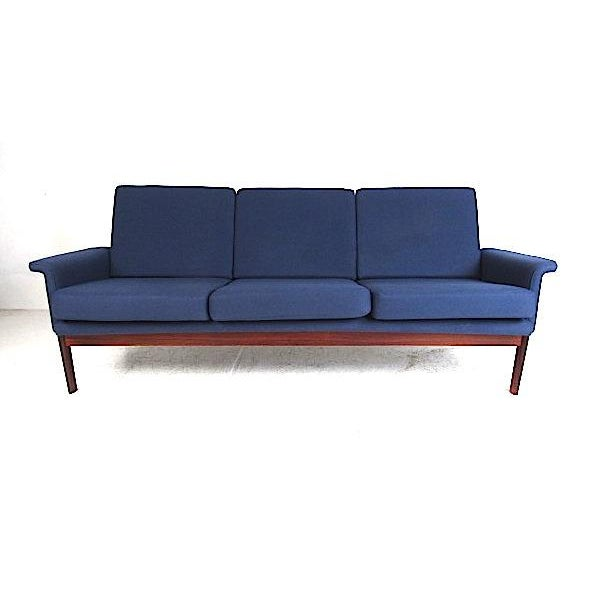 Classic Danish minimalist style sofa designed by Finn Juhl and produced by France & Son, 1960s. Beautiful wood frame...