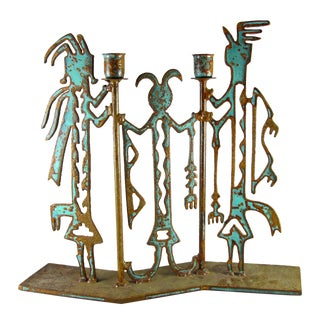 Large Handmade Metal Southwest Native American Indian Candle Holder For Sale