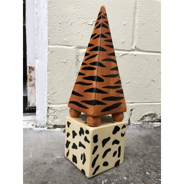 Fabulous vintage hand-painted tiger striped and cheetah print obelisk featuring shades of yellow, orange and black. So...