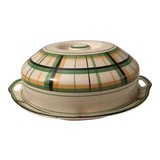 Yellow and Green Plaid Cheese Tray With Cover