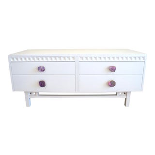 1960s Mid-Century Modern Kalpe White Onyx Drawer Pull MIni Credenza For Sale