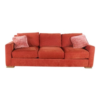 Kravet Furniture Contemporary Red Upholstered Three-Cushion Sofa For Sale