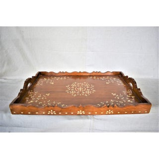 Vintage Moroccan Serving Tray With Inlay Bone Design Preview
