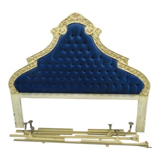 French Rococo Tuft Blue Bed Headboard King