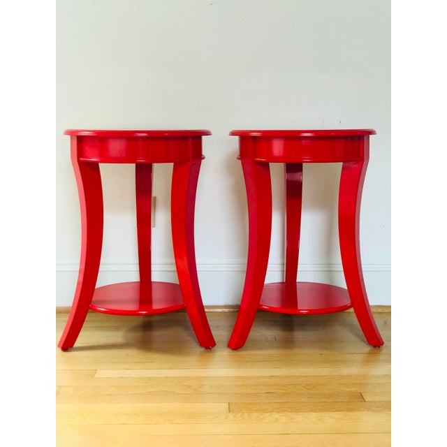 Early 21st Century Red Lacquer Round Top End Tables - a Pair For Sale - Image 5 of 5