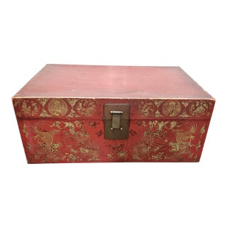 Early 20th Century Chinese Red Leather Trunk W/ Gold Metallic Paint For Sale