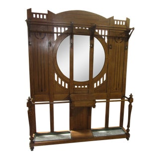 Antique English Arts and Crafts Oak Coat Rack, Hat Rack and Umbrella Stand For Sale