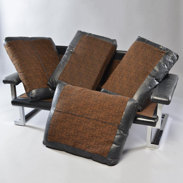 Metal Black Leather and Chrome Sofa by Tim Bates for Pieff & Co For Sale - Image 7 of 8