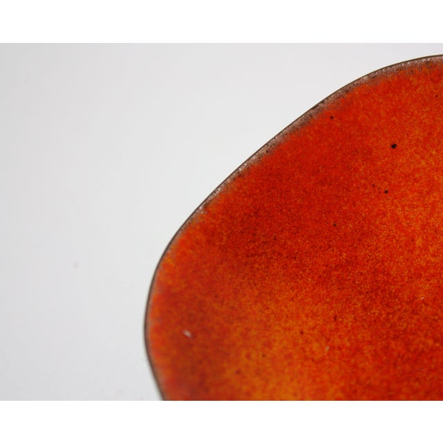 1960s Vintage Orange Enamel on Copper Dish by Bovano For Sale - Image 5 of 8