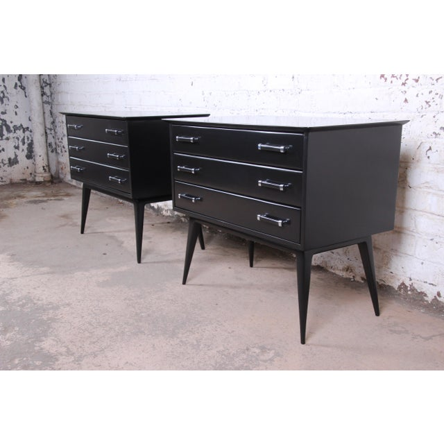 Renzo Rutili for Johnson Furniture Black Lacquered Bachelor Chests or Large Nightstands, Newly Refinished For Sale - Image 13 of 13