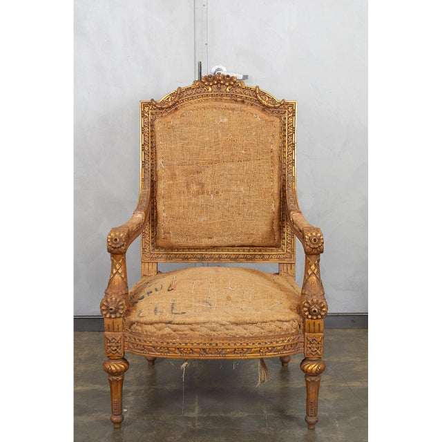 Louis XVI Pair Louis XVI Style Armchairs For Sale - Image 3 of 8