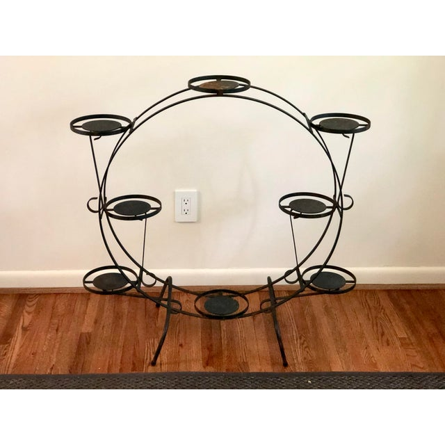 1930s Art Deco Circular Iron Plant Stand For Sale - Image 9 of 11
