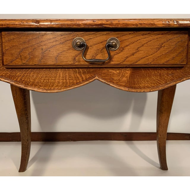 Lovely oak side table with drawer. Cabriole style legs - distressed finish - beautifully made.